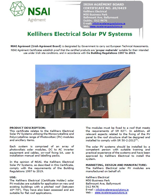Cover page - Kellihers Electrical NSAI certificate