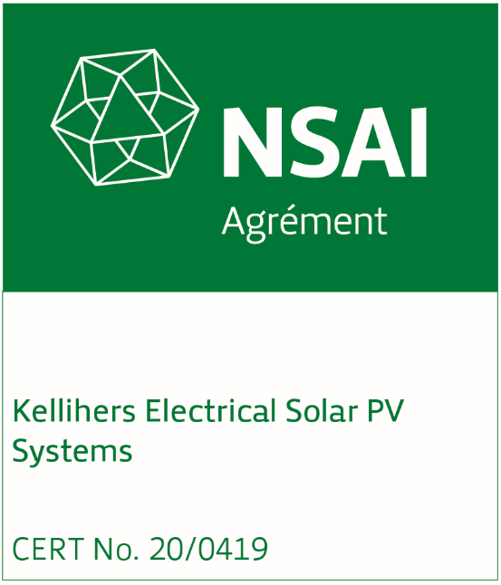 NSAI Solar PV System certification for Kellihers Electrical